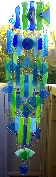 Fused glass tropical fish wind chimes by Andrea Mattison
