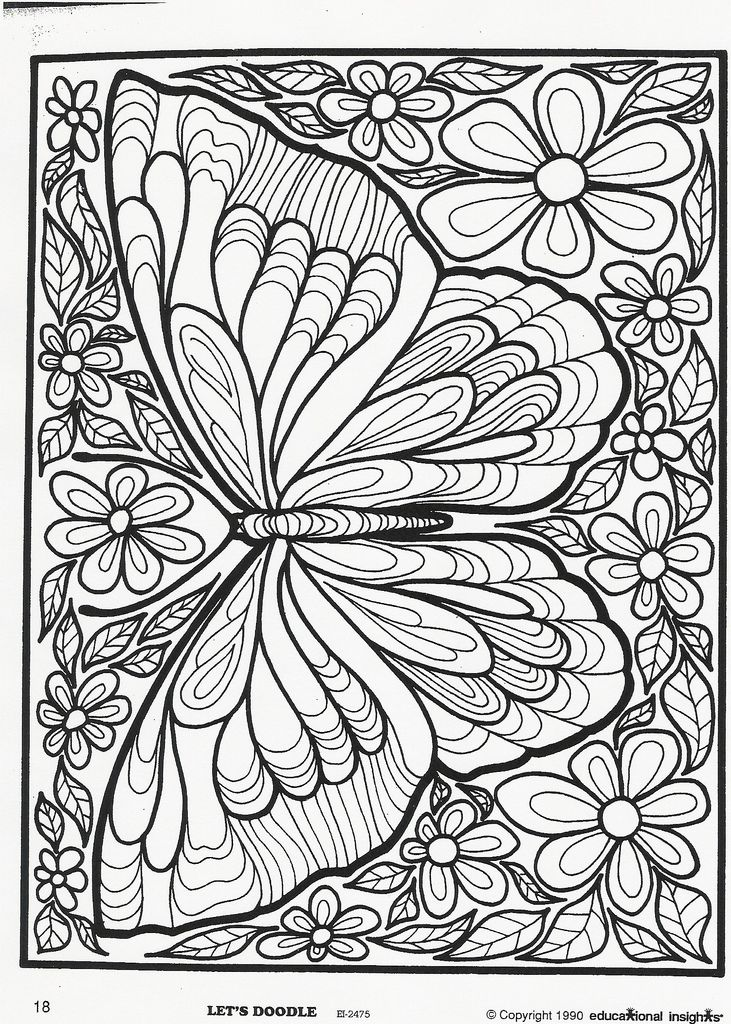 Lets Doodle Butterfly Coloring Page