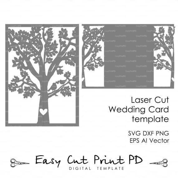 Bride & Groom Tree Bird wedding card COVER love by EasyCutPrintPD