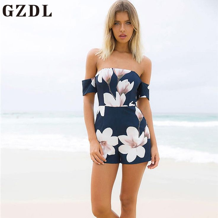 GZDL Sexy Women Beach Party Playsuit Overall Summer Navy Blue Zipper Back Bodysuit Fashion Backless Pocket Print Jumpsuit CL4099 #Affiliate