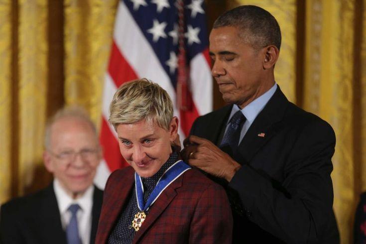 Print  Email  Facebook  Twitter  More Ellen Degeneres, Presidential Medal of Freedom, November 22, 2016.