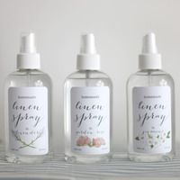DIY Homemade Linen Spray  To make one 8oz bottle of linen spray, pour 3 oz of the alcohol into a small bowl. Add 30 drops of the essential oil of choice and mix thoroughly- it is important to mix these two first as the oil will mix with the alcohol, but not the water. Add 1.5 cups of distilled water and stir together. Use the funnel to pour the mixture into the plastic bottle.