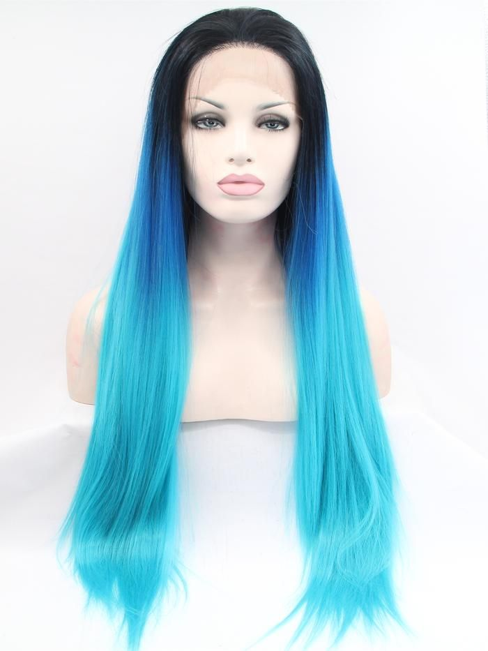 Iris Mixed Blue Ombre Straight Synthetic Lace Front Wig DL0027