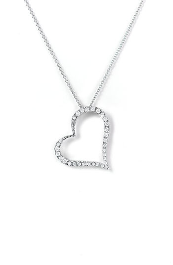 White Gold & Diamond Heart Necklace