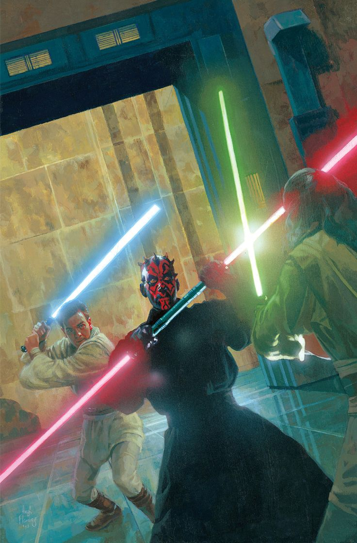 Darth Maul vs. Obi-Wan Kenobi and Qui-Gon Jinn wallpaper