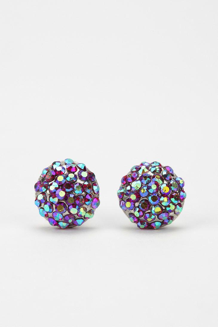 "purple and blue ""kaleidoscope"" rhinestone earring studs, only $14! love it."