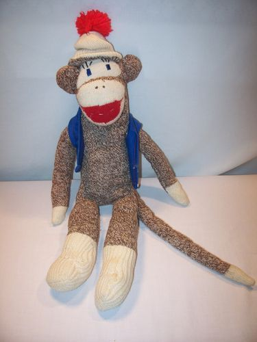 "Vintage Sock Monkey Cap Blue Vest Hand Made 20"" Tall | eBay"