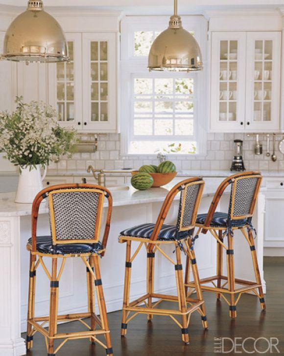 Kitchen Dreams. All white with blue French bistro chairs. Interior Designer: Victoria Hagan.