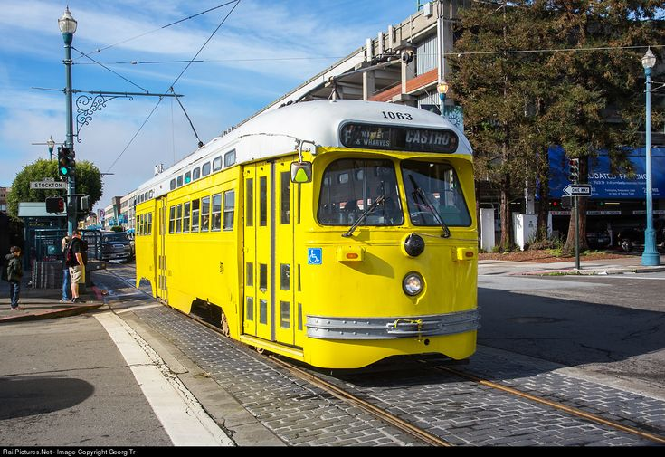 MUNI's PCC streetcar # 1063 was built by St.Louis Car Co. in 1948 for Philadelphia Transportation Co. and ran there till 1989. Purchased by MUNI in 1992, it is painted in tribute to Baltimore, Maryland.