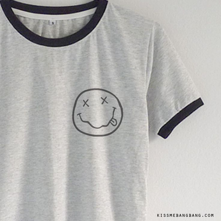 nirvana smiley_Ringer Tee_Grey_Zoom