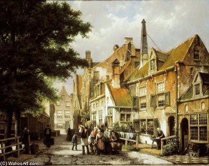 Scène de rue de Willem Koekkoek (1839-1895, Netherlands)