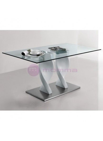 Mesa de comedor en cristal templado Gaia 362€ 140x90cm