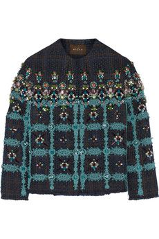 Biyan Coco embellished lace-appliquéd tweed jacket | NET-A-PORTER