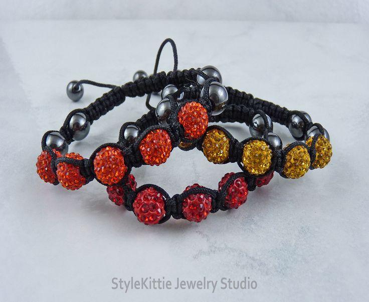 Red, Yellow and Orange Disco Ball and Hematite Shamballa Friendship Bracelets, Set of Three, Black Nylon Cord, Macrame, Layered, Stackable by StyleKittieJewelry on Etsy
