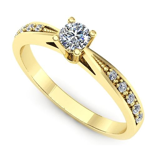 Inel de logodna realizat din aur galben, cu un diamant de 0.15 ct si diamante dispuse lateral ;)