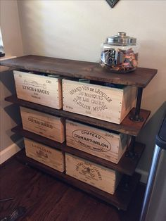 Vintage-Style Industrial Table with Original Wine Box Drawers. The piece was made by The Urban Farmhouse Group on Etsy https://www.etsy.com/shop/UrbanFarmhouseGroup