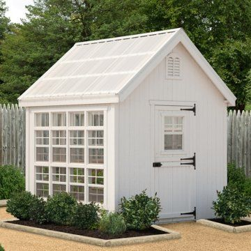 So cute--Little Cottage 8 x 8 ft. Colonial Gable Greenhouse with Optional Floor Kit