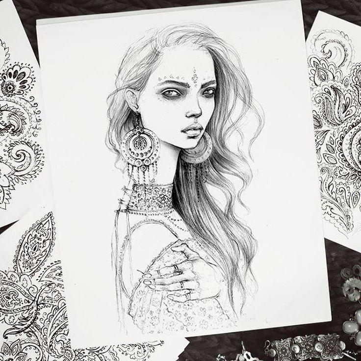 ❤ . . . #art #fashion #fashionsketch #girl #model #design #graphic #graphicdesign #illustrator #illustration #sketch #bohemian #ethnic #tribal #gypsy #drawing #pencil #fashionillustrationgallery #yoga #fashionillustration #fashionillustrator #boho #bohemianstyle #runway  #portrait #print #иллюстрация #inkawilliams