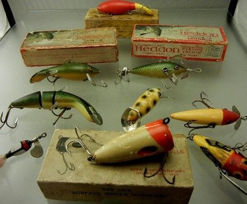 Vintage Antique Tackle Lot Heddon & Other Wood Glass Eye Fishing Lures Old  Bait