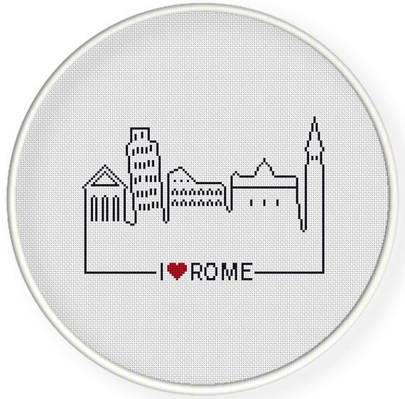 INSTANT DOWNLOAD,Free shippingCounted Cross-Stitch PDF,Friendship gift ,gift for couples,i love rome ,landmark,landscape,city stitch by danceneedle on Etsy