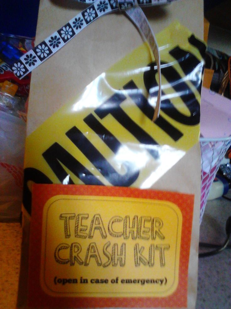 Cute gift to give new teacher from a mentor teacher! It is full of candy and little things teachers use- note pads, pens, binder clips, etc.