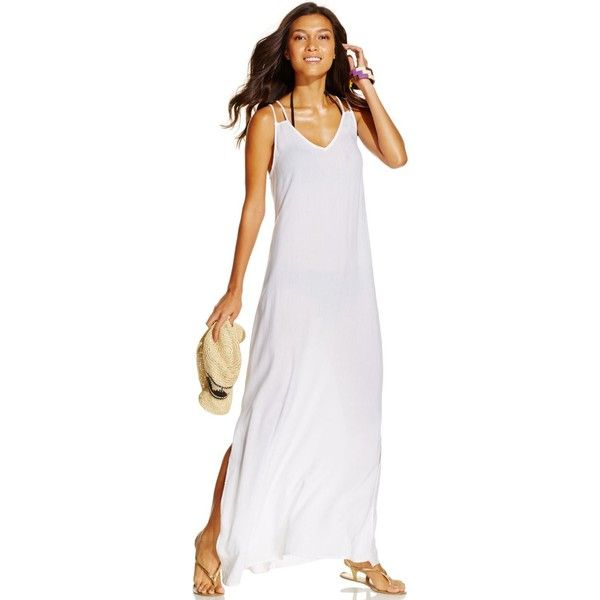 Raviya Laddder-Back Maxi Dress Cover-Up Women's Swimsuit ($48) ❤ liked on Polyvore featuring swimwear, cover-ups, white, beach cover ups, bathing suit cover ups, bathing suit cover up, long beach cover ups e swimsuit cover ups
