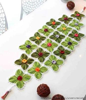 Crochet table runner.