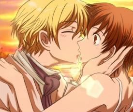 Haruhi and Tamaki Kiss. Ouran High School Host Club.