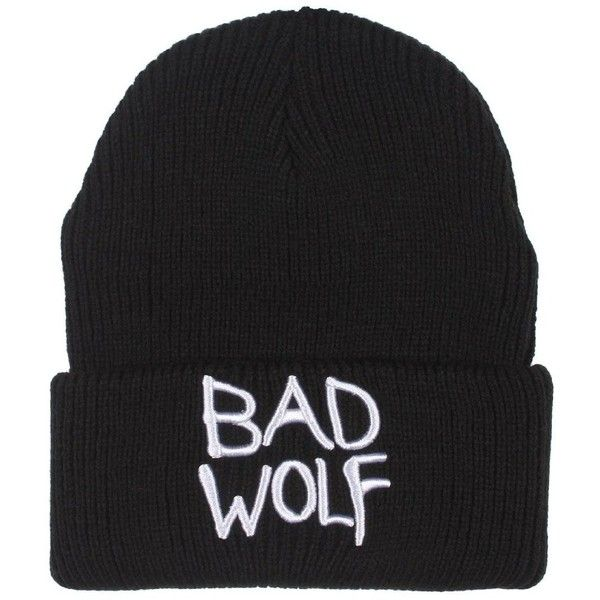 Doctor Who Bad Wolf Beanie (49 BRL) ❤ liked on Polyvore featuring accessories, hats, beanies, headwear and beanie hats