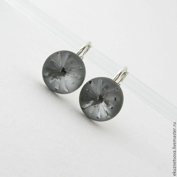 """Купить Серьги """"Под покровом ночи"""" Сваровски +серебро - серьги, серьги с кристаллами, кристаллы"""