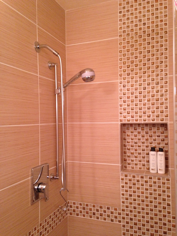 12 X 24 Tile With Offset Vertical Mosaic Inlay Shower