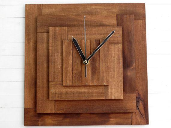 Reloj de madera reloj cuadrado reloj marrón gran reloj