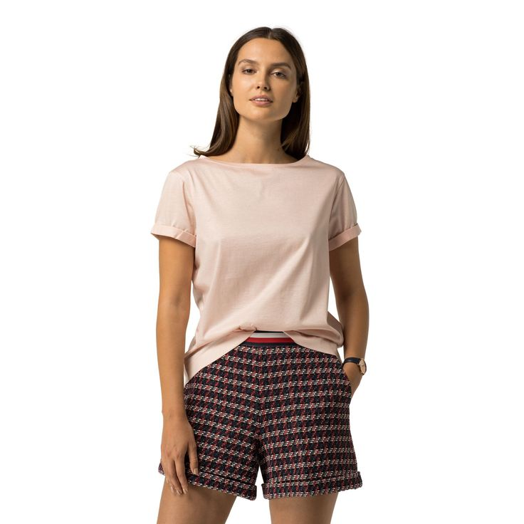 TOMMY HILFIGER BOAT NECK TOP - ROSE SMOKE. #tommyhilfiger #cloth #
