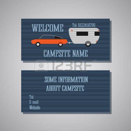 Professionele en designer camping card template of visitekaartje set. Voor- en achterkant bekijken. Auto en caravan. Vector illustratie photo