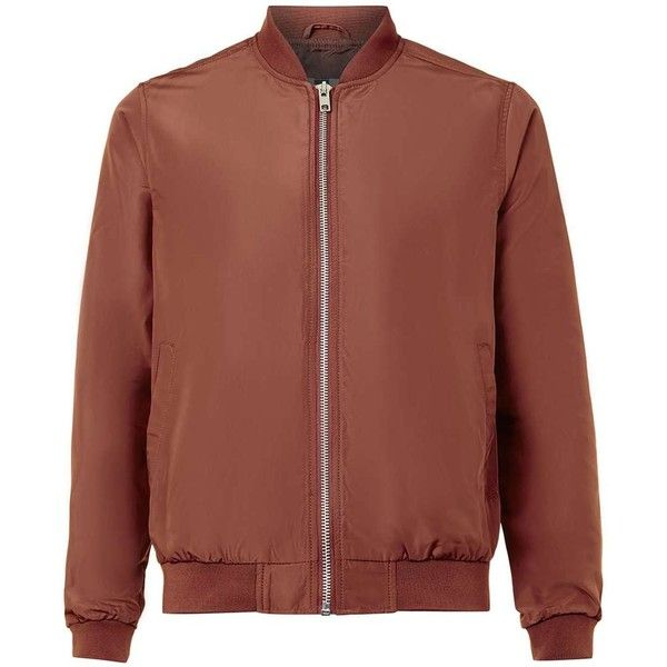 TOPMAN Rust Lightweight Bomber Jacket ($57) ❤ liked on Polyvore featuring men's fashion, men's clothing, men's outerwear, men's jackets, brown, mens bomber jacket, mens light weight jackets, mens lightweight bomber jacket and mens lightweight jacket