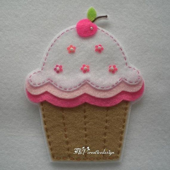 Handmade Cupcake Felt Applique Big  Double by TRPcreativedesign01, $4.00                                                                                                                                                      More