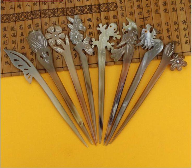 Высокое качество нового прибытия 1 шт. 18 см ручной як рог аксессуар головной убор китайские волосы палочки Шпилька традиции китайской шпильки