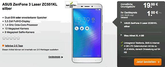 Günstiger Vertrag ASUS ZenFone 3 Laser für 1,00€ mit Blau Allnet XL 4 GB im Tarif Allnet XL hast Du jeden Monat 4 GB LTE Datenvolumen , Telefon Allnet-Flat und eine SMS-Flat in alle dt. Mobilfunknetze mit 19,99€ Grundgebühr im Monat im O2 Netz.