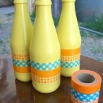 Decorating with old wine bottles and washi tape