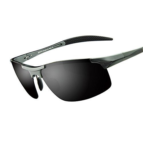 Duco Men's Sports Style Polarized Sunglasses Driver Glasses 8177S (Gunmetal FrameGray Lens)