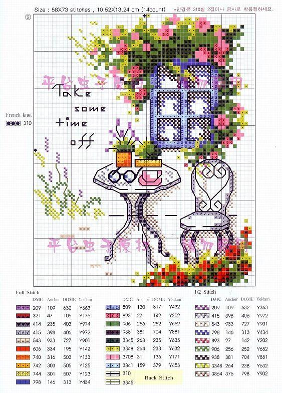 Cross stitch pattern, garden, coffee table.