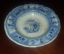 Antique Staffordshire Children's Toy Soup Plate 19th Century Blue Transfer