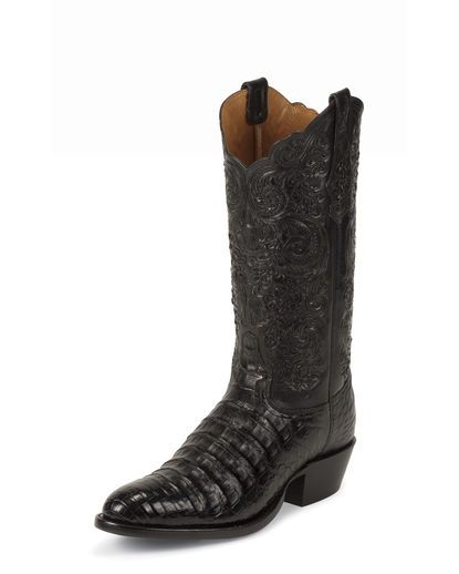 Men's Black Belly Antique Caiman Boot