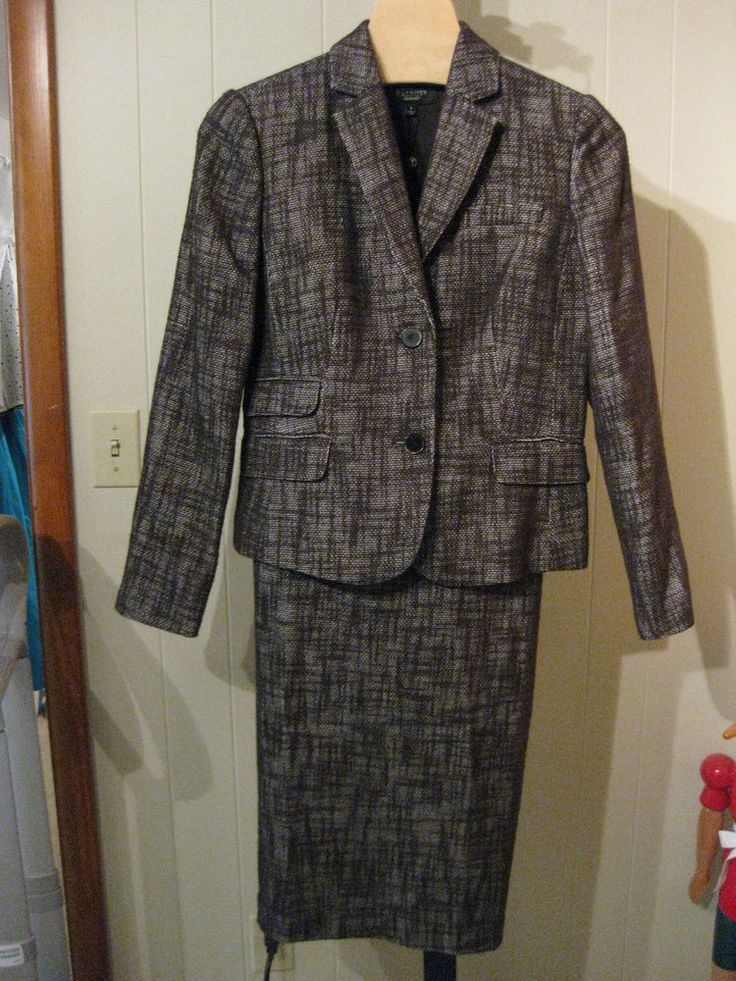 MISSES BROWN COTTON WOVEN TWEED SUIT TALBOTS 6 / 8 $268 #Talbots #SkirtSuit