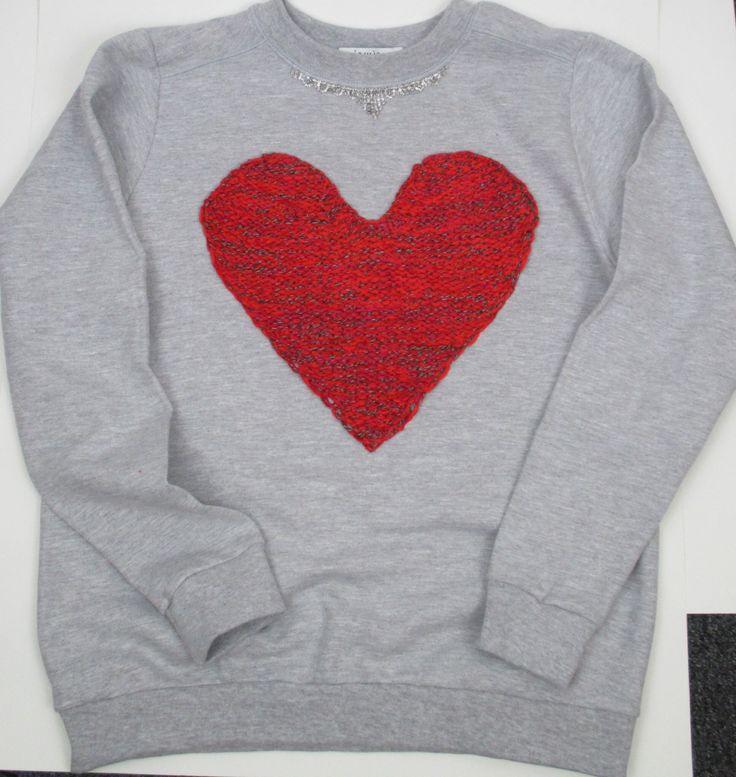 Sweatshirt with hand knitted tweed heart and chandelier trim. #madeinusa www.jamiekreitman.com