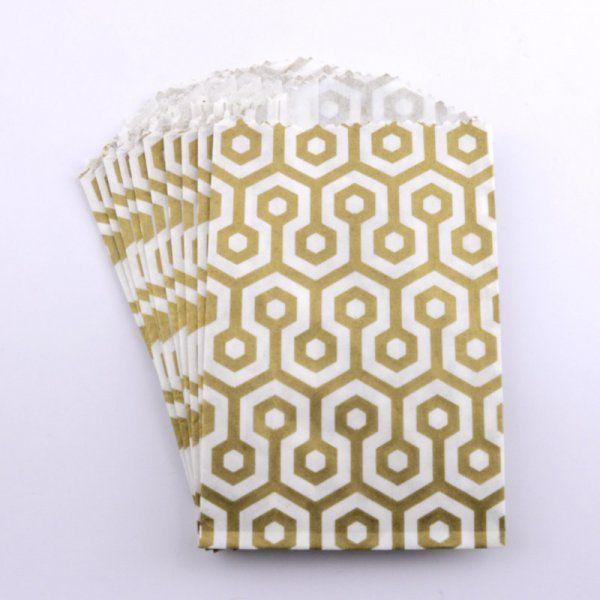 Sacs en papier Small - Nid d'abeilles Or (lot de 10)