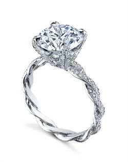 Platinum Michael B Engagement Ring From The Infinity Collection Features Two Hand Braided Wires