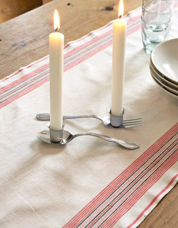 Flatware Candleholders Make these playful accessories using chrome-plated candle cups that measure about one inch wide — the perfect size for holding tapers ($5.36 each; antiquelampsupply.com). Affix cups to the serving ends of a spoon and fork using bonding glue. Let dry for one hour.  Read more: Recycled Craft Ideas - Crafts from Recycled Materials - Country Living