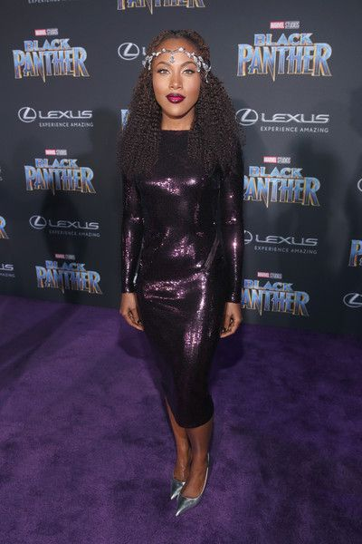 Actor DeWanda Wise at the Los Angeles World Premiere of Marvel Studios' BLACK PANTHER at Dolby Theatre on January 29, 2018 in Hollywood, California.