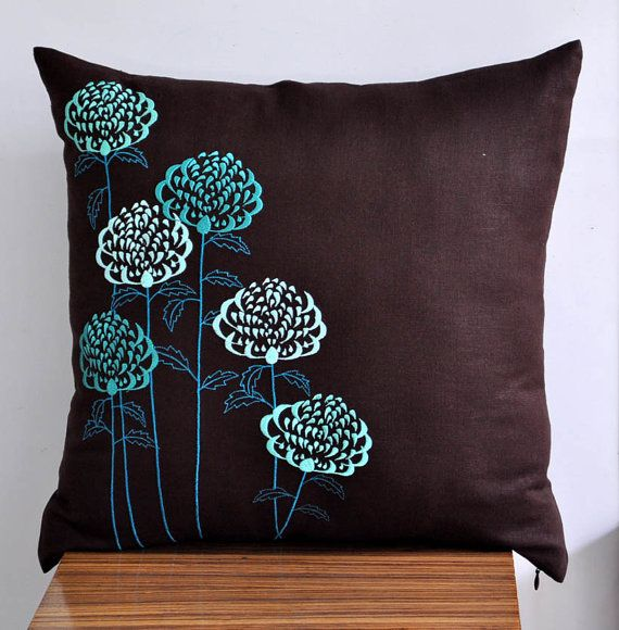 Teal Flower Pillow Cover, Throw Pillow Cover 18 x 18, Teal floral embroidered pillow, Dark Brown Pillow, Pillow Accent Teal, Pillow Case on Etsy, $27.00